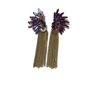 Jewelry - Funky purple and gold tassel earrings